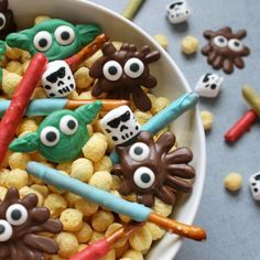Chocolate, pretzel, marshmallow and cereal STAR WARS snack mix