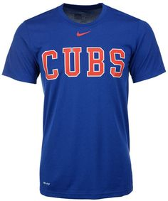 Show support for the Chicago Cubs with this Nike MLB Legend Wordmark t-shirt. The Dri-FIT technology of this tee keeps you cool from the first pitch to the end of the game. Ribbed crew neckline with interior taping Pullover style Short sleeves Screen print team and Nike swoosh logo at front Regular fit Dri-FIT technology Polyester Machine washable