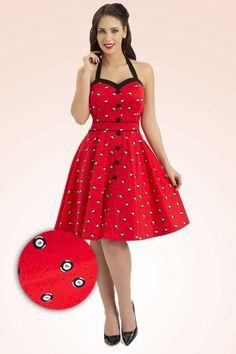 Vixen - 50s Pool Swing Dress in Red