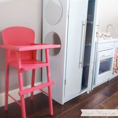 Grapefruit pink spray painted high chair (Krylon Watermelon but looks a little brighter like Valspar's Frosty Berry)