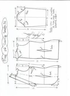 Esquema de modelagem de Blazer Smoking tamanho 36.
