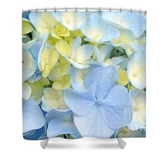 Hydrangea in Blue and Yellow Shower Curtain by Regina Geoghan