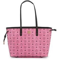 MCM Custom Shopper Project Visetos Reversible Tote Bag ($725) ❤ liked on Polyvore featuring bags, handbags, tote bags, pink, travel tote, travel pouch, shopping tote, travel tote bags and reversible leather tote