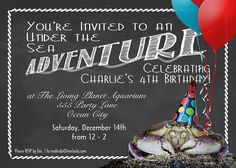 Aquarium Party Invitation  5x7  Print at by MelindaBryantPhoto, $10.65  chalkboard printable, crab, balloons, silly, unique, fun, custom, personalized, printed, birthday, party, beach, seaside, theme, animal, party hat, ideas