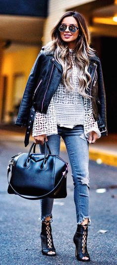 #spring #outfits  Black Leather Jacket & White Lace Top & Black Leather Tote Bag & Ripped Skinny Jeans & Black Laced Up Booties