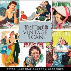 Far Far Hill--New Freebies Kit of Retro Illustrations from Magazines File Info: ZIP file 300 .dpi