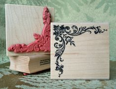 A lovely victorian corner rubber stamp. Great for adding that special touch to your vintage cards, or scrapbook page.    2 1/4 inches wide by 2