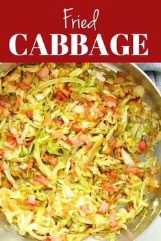 Fried Cabbage with bacon is a simple yet flavorful side dish made with just a few ingredients. Make it in 20 minutes or up to 2 days ahead. Side Dishes Easy, Vegetable Side Dishes, Side Dish Recipes, Cooking Bacon, Cooking Recipes, Flour Recipes, Bacon Fried Cabbage, Mushroom Pork Chops
