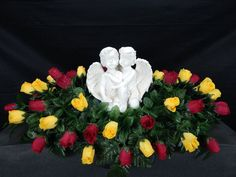 Hugging Angels Double Cemetery Flower  Memorial Headstone/Tombstone Saddle
