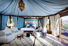 Camping... I just can't get in to, but 'Glamping' in the Atlas Mountains... Tent 55 please   Kasbah Tamadot hotel, Morocco