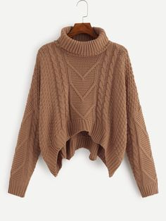 Shop Plus Mixed Knit Dip Hem Jumper online. SHEIN offers Plus Mixed Knit Dip Hem Jumper & more to fit your fashionable needs. Cropped Pullover, Pullover Outfit, Cropped Sweater, Long Sleeve Sweater, Brown Sweater, Loose Sweater, Shein Pull, Jumpers For Women, Sweaters For Women