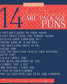 Puns for care packages using veggies... lots more available.