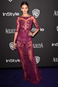 Alessandra Ambrosio wearing Zuhair Murad gown at the HBO'S Post-Golden Globe Party. #alessandraambrosio