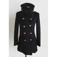 $30.83 Graceful Lapel Slimming Double-Breasted Woolen Fabric Coat For Women