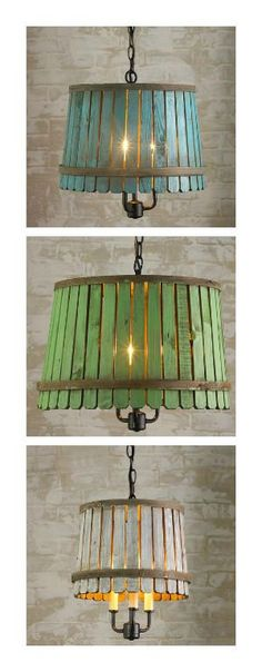 A Washed-color wooden bushel baskets bring back to life into a nice and rustic looking pendant lantern. Add a hint of color to any casual space!     #Lamp, #Lantern, #Pendant, #Upcycled