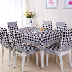 9 Pieces/set Tablecloths with Chair Covers Mats Embroidered Tablecloth Linen For Table Wedding Home Coffee Table Cloth Cover You can decorate your kitchen with our affordable table cloths any color, any design in any seasons of the year. These 9 pieces of Kitchen Chair Covers, Kitchen Chairs, Table Covers, Coffee Table Cloth, Home Coffee Tables, Table Linens, Table And Chairs, Dressing Design, Rideaux Design