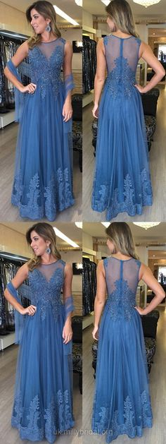 Long Prom Dresses Modest, Lace Prom Dresses Blue, Pretty Prom Dresses for Teens, A-line Evening Dresses Cheap