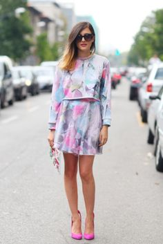 : Sweet pastel shades make for a pretty look, especially when finished off with bright pink pumps.