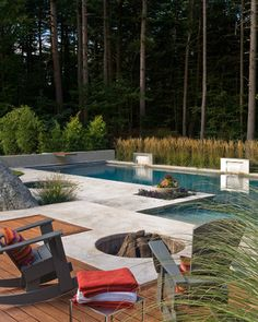 Then you can lounge on your cushioned patio chairs all day long without the fear of prying eyes! | Contemporary Pool by Sudbury Landscape Architects & Landscape Designers Sudbury Design Group