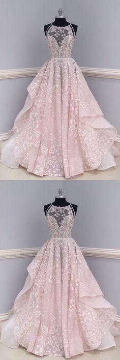 PRETTY ROUND NECK LACE LONG PROM DRESS, PARTY DRESS#promdress #pinklongprom #lacepromgown#