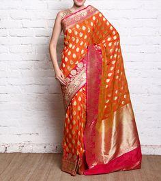 Magenta & Orange Handloom Silk Saree With Banarasi Zari Work