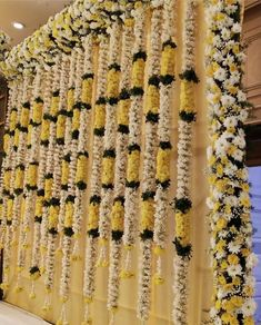 Colourful flowers hangings for backdrop. Desi Wedding Decor, Wedding Hall Decorations, Wedding Mandap, Wedding Receptions, Flower Decorations, Wedding Ideas, Yellow Decorations, Outdoor Weddings, Rustic Weddings