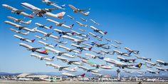 離陸する飛行機たちを全部まとめた驚きの写真