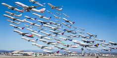 If you want to know what a takeoff at Los Angeles International Airport looks like, just ask Mike Kelley.   The L.A.-based photographer recently spent seven hours camped out with his camera in a par