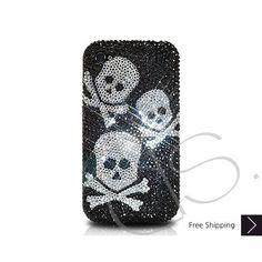 Three Skulls Bling Swarovski Crystal iPhone 5 Case