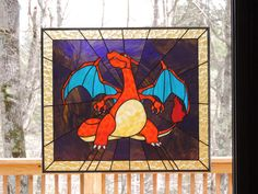 Detailed Large Stained Glass CHARIZARD Panel  by RLJCreations,