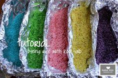 for sensory bin tutorial: kool-aid dyed rice « mama♥miss