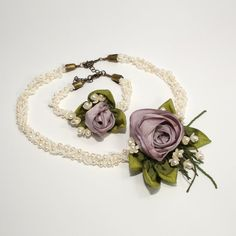 Wedding pearls set with silk and crochet flowers lilac by LozArts