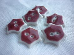 Ceramic Buttons Peach Bloom Red Porcelain by susansharpeceramics, £8.00