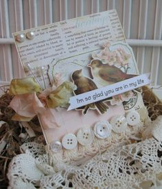 shabby chic birds Im so glad you are in my life handmade card. $8.50, via Etsy.