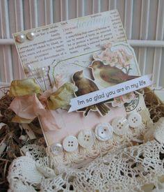 shabby chic birds Im so glad you are in my life handmade card. $8.50, via Etsy.