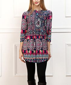 Look at this #zulilyfind! Purple & Blue Abstract Notch Neck Tunic by Reborn Collection #zulilyfinds