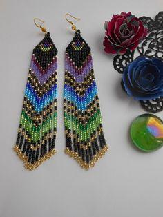 Extra long earrings Beaded earrings Black earrings Seed