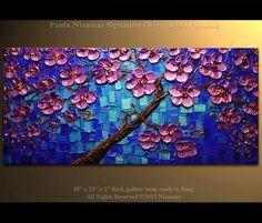48 x 24 original painting abstract painting large painting from Paula Nizamas blue,purple and black impasto ready to hang
