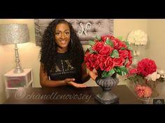 DIY: How to make an Urn Floral Arrangement | DOLLAR TREE | Under $20 | Goodwill | Rose Centerpiece - YouTube