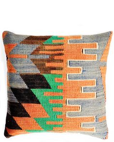 "16"" Kilim Pillow, Earthy Jigsaw"