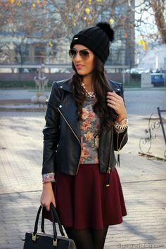 Flower Sweater & Burgundy Skirt