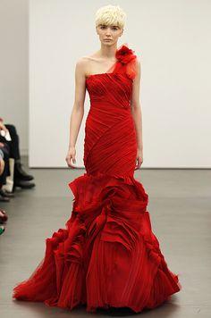 Red wedding dress from Vera Wang, Spring 2013
