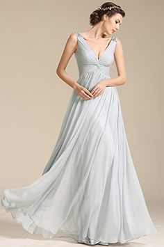 Plunging V Neck Beaded Shoulders Evening Dress Prom Dress (00155108)