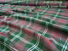 Fabcrafts : Acrylic Check Tartan Fabric - Green Brown Check - 10 meter - £35.00