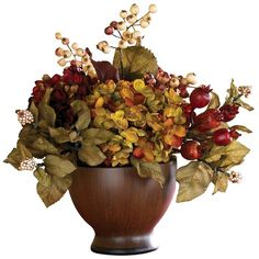 Nearly Natural Artificial Autumn Hydrangea with Round Vase -... ($49) ❤ liked on Polyvore featuring home, home decor, floral decor, fall, flowers, flowers / foliage, artificial flowers, decorative accents, fake flower centerpieces and colorful flower pots
