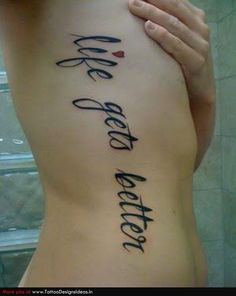 black and red writing tattoo | Tattoo Writing Ideas