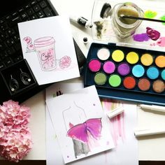 Art of Thursday Doing some watercoloring in the middle of the night to keep calm. Fashion illustration for inner balance.  #fashion #flatlay https://www.minimalestetika.wordpress.com/