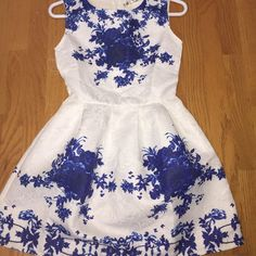 White Dress With Blue Floral Prints