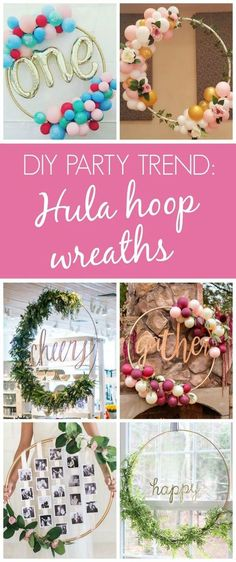 diy birthday decor These 13 Awesome DIY Hula Hoop Wreaths are the perfect, eye-catching decoration for any party or event. If you've been wondering how to make a DIY hula hoop wreath Grad Parties, Birthday Parties, Birthday Diy, Wedding Parties, Birthday Ideas, Wedding Gifts, Diy Birthday Wreath, 18th Birthday Decor, Diy Birthday Backdrop