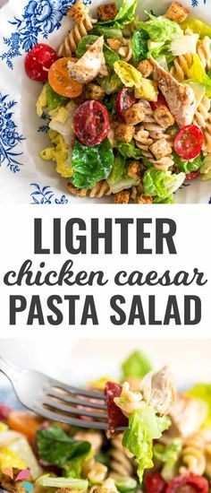 You HAVE to bring this easy chicken caesar pasta salad to your next summer BBQ or potluck! Nobody will believe how healthy the creamy dressing is!
